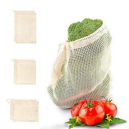 Reusable Cotton Mesh Net Produce Bags Grocery Fruit String S