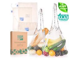 SHAKA LOVE Reusable Grocery & Produce Bags Organic Cotton Cl
