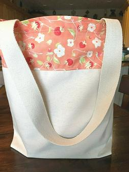 Handmade Reusable Grocery Bag Fully Lined Strawberries