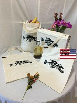 Reusable Grocery Bag Tote Handmade Handpainted Fish Skeleton