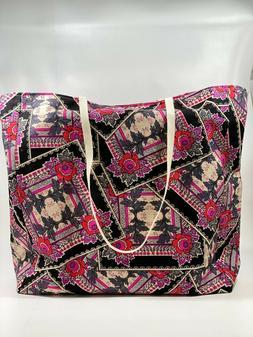 Reusable Grocery Bag, Tote. Vintage Pattern, Floral, Pink, R