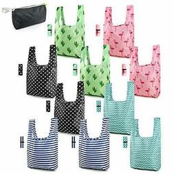 Reusable Grocery Bags Foldable Washable Shopping Totes 10 Pa