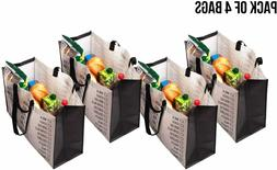 Heavy Duty Grocery Bags Reusable Foldable Pack of 4 Double H