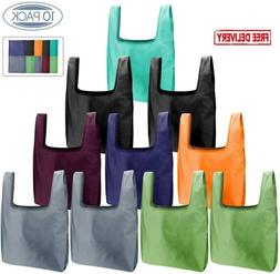 Reusable Grocery Bags Set, 10 Pack Foldable Into Attached Po