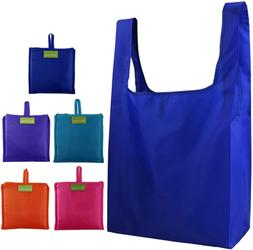 Reusable Grocery Bags Set of 5 Foldable Attached Pouch Ripst