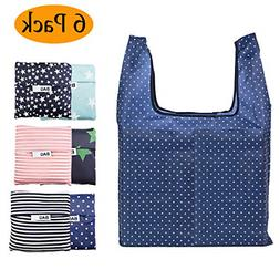 Reusable Grocery Bags Set of 6 Foldable Shopping Tote Bag,Wa