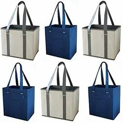 Reusable Grocery Bags Shopping Box With Reinforced Sides And