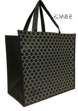 Reusable Grocery Bags Shopping Tote Heavy Duty Black Non Wov