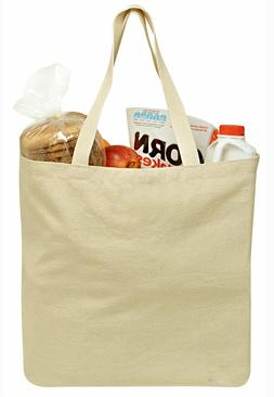 Reusable Grocery Canvas Shopping Bag, Sturdy Shoulder Straps