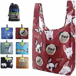 Reusable-Grocery-Shopping-Tote-Bags-Foldable 6 Pack Extra La