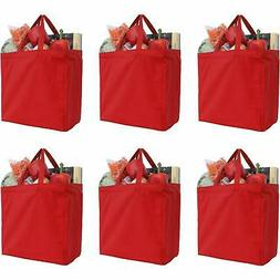 Reusable Heavy Duty 100% Cotton Canvas Grocery Bags - Red -