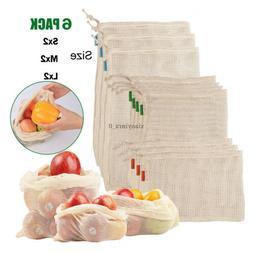 Reusable Mesh Produce Bags Fruit Vegetable Storage Shopping