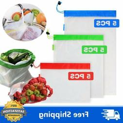 Reusable Mesh Produce Bags Grocery Fruit Vegetable Toys Stor