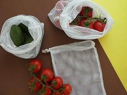 Reusable mesh produce bags set of 3, Grocery Bag, Organizer,