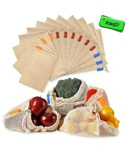 Reusable Produce Bags 12 Packs Washable Mesh Grocery Bags Or