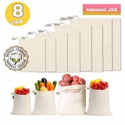 Reusable Produce Bags, Set of 8 XXL| Organic Cotton, Biodegr