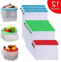 Reusable Produce Mesh Bags 12 Pack Washable Eco Friendly Gro