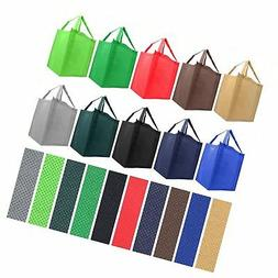Reusable Reinforced Handle Grocery Tote Bag Large 10 Pack -