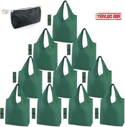 Reusable Shopping Grocery Bags 10 Pack Xlarge 50Lbs Foldable