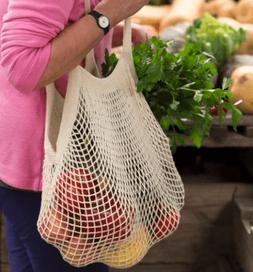Reusable String Grocery Bag Mesh Net White Fruit Vegetable P