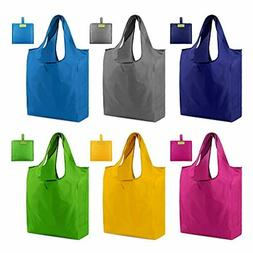 Reusable Tote Bags Shopping Grocery Bags with Pouch 6 Pack G