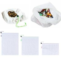 Reusable Washable Mesh Shopping Bags Eco Friendly Drawstring