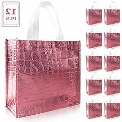 Set Of 12 Glossy Reusable Grocery Bag, Non-woven Tote With H