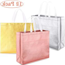 Whaline Set Of 12 Glossy Reusable Grocery Bag, Tote Bag With