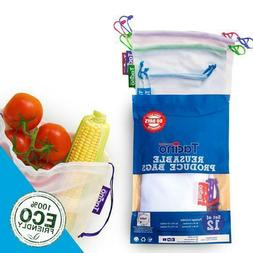 Set of 12 Reusable Mesh Produce Bags for Vegetable Grocery S