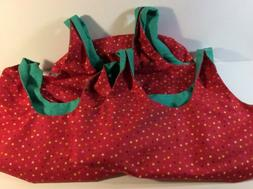 Set Of 3 Fabric Shopping Grocery Tote Bags Reusable Lined  H