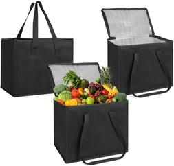 Set of 3 Insulated Reusable Grocery Bag, Reinforced Hard Bot