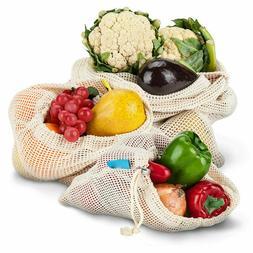 Set of 3 Reusable Mesh Produce Bag, Eco Organic Cotton Groce