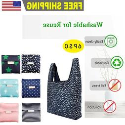 Set of 6 Reusable Grocery Bags Heavy Duty Foldable Shopping