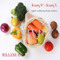 Simple Eco Reusable Organic Cotton Mesh  Produce Bags Fruit