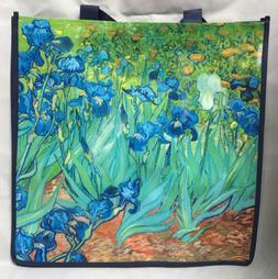 Van Gogh Irises Reusable Grocery Shopping Tote Bag Green Blu