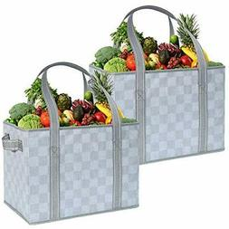 VENO 2 Pack Large Reusable Grocery Shopping Bags, Storage Bo