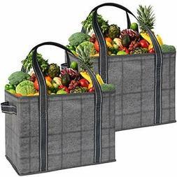 VENO 2 Pack Large Reusable Grocery Shopping Bag, Storage Box