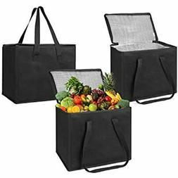 VENO Insulated Reusable Grocery Bag, Reinforced Hard Bottom/