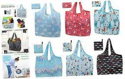 WUQID Reusable Shopping Grocery Bags 6 Pack Ecosilk Bags Fol